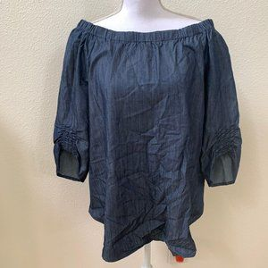 Umgee USA Large Denim Off Shoulder Blouse